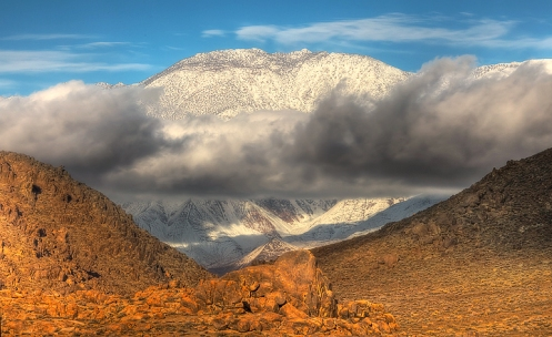 A Storm Cloud Moves through Owens Valley In the Alabama Hills