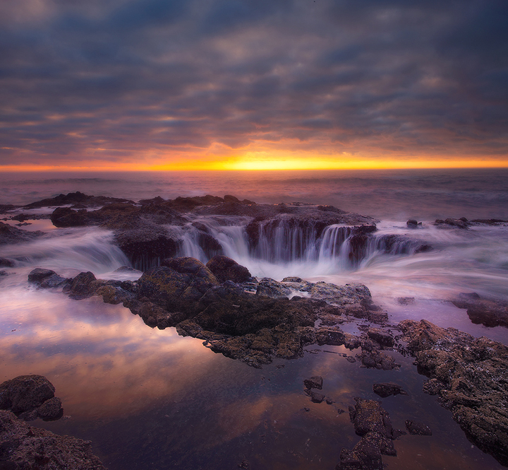 Thors Well Sunset - Oregon Coast